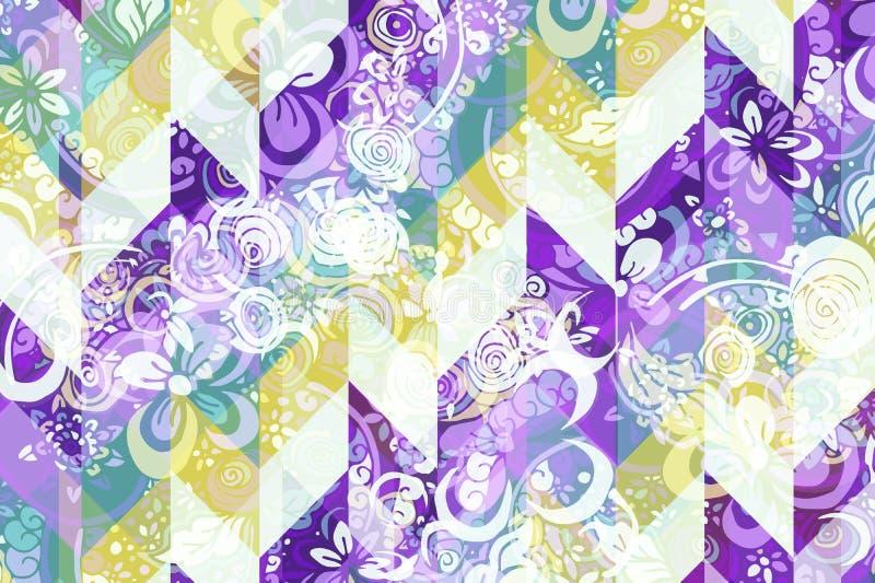Modèle abstrait géométrique avec l'ornement floral de style de Zentangle illustration stock