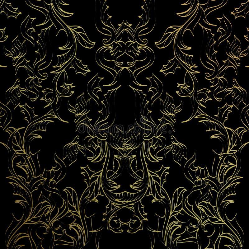 Modèle abstrait lumineux noir et d'or illustration de vecteur
