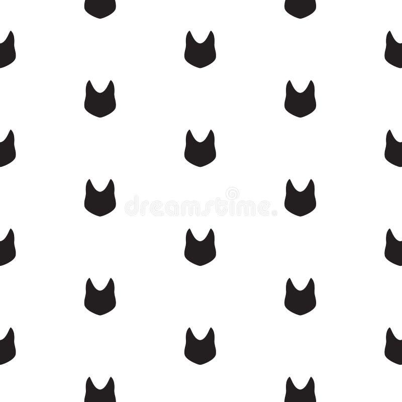 Modèle abstrait minimal sans couture avec la silhouette principale de chat noir sur le fond blanc illustration de vecteur