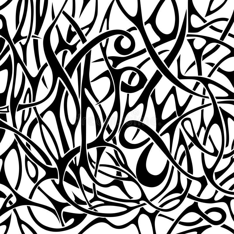 Modèle abstrait noir et blanc dans le style de tatouage illustration libre de droits