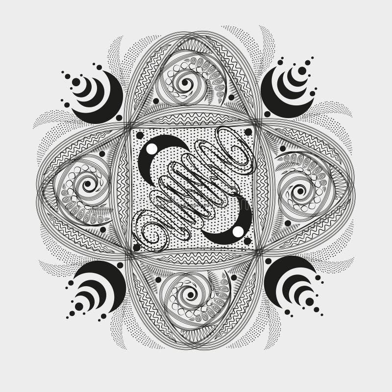 Modèle abstrait noir symétrique illustration stock