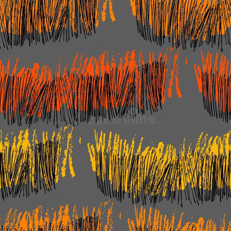 Modèle abstrait peint à la main avec des traçages et le zigzag illustration de vecteur