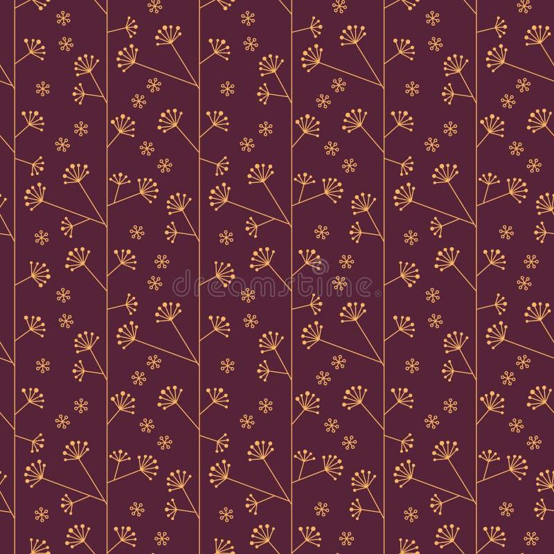 Modèle abstrait sans couture avec des fleurs en or et couleurs pourpres - dirigez eps8 illustration de vecteur