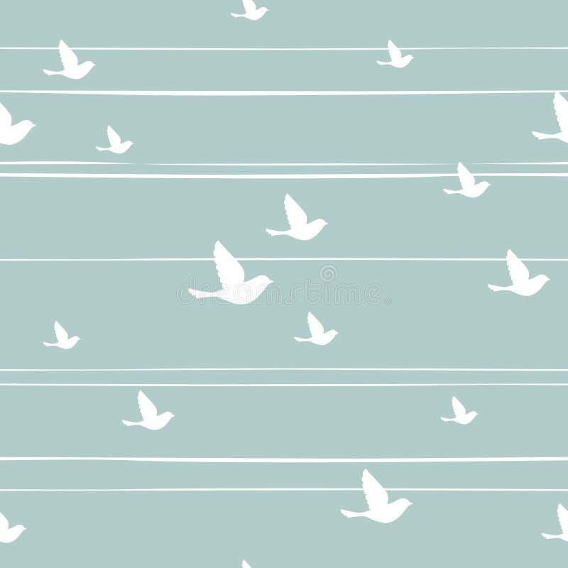 Modèle abstrait sans couture avec des oiseaux de vol sur le fond bleu avec les rayures minables blanches illustration de vecteur