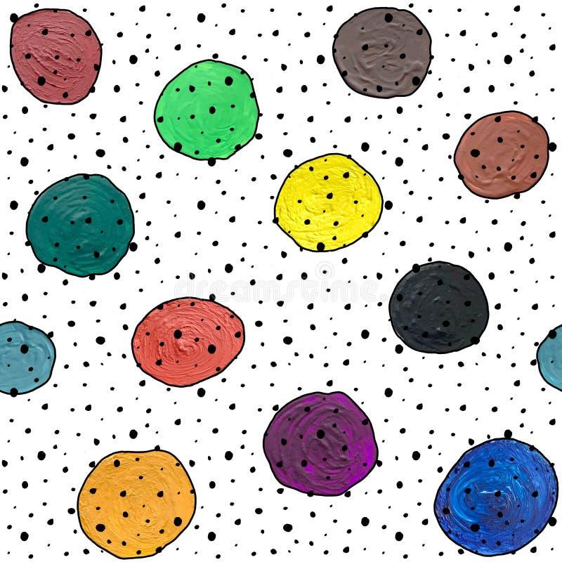 Modèle abstrait sans couture avec la gouache de cercles et acrylique sur le fond blanc illustration stock