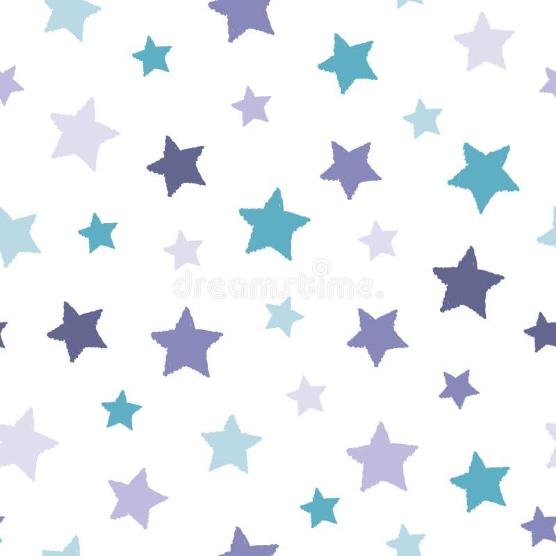 Modèle abstrait sans couture avec les étoiles minables tirées par la main blanches de la taille différente sur le fond blanc gent illustration de vecteur