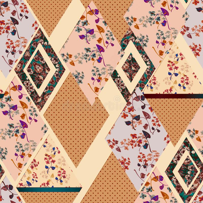 Modèle abstrait sans couture de plaid de patchwork images stock