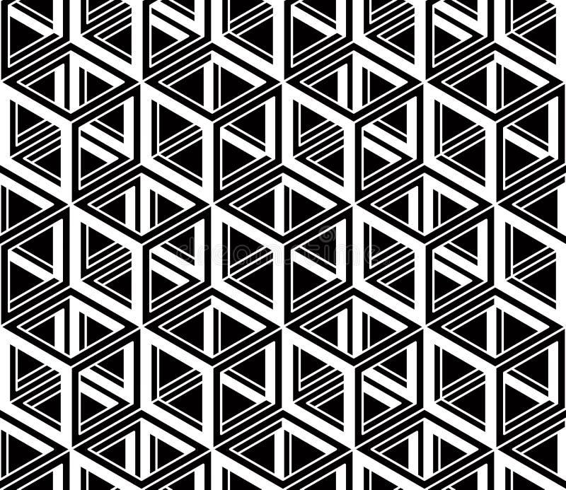 Modèle abstrait sans couture graphique, noir géométrique régulier et W illustration stock