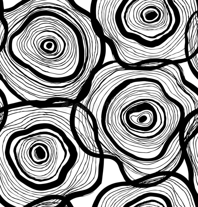Modèle abstrait sans couture, texture artistique, fond dessiné avec des cercles, conception décorative de calibre de vecteur illustration stock