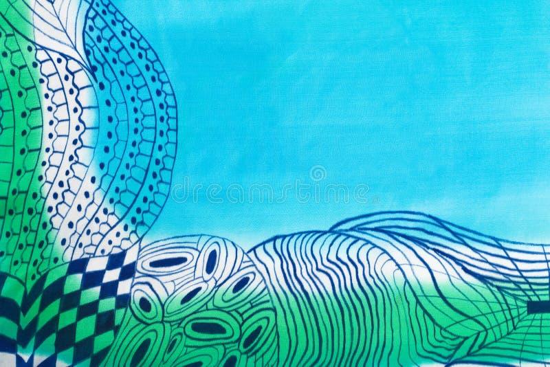 Modèle abstrait sur le batik en soie fait main illustration stock