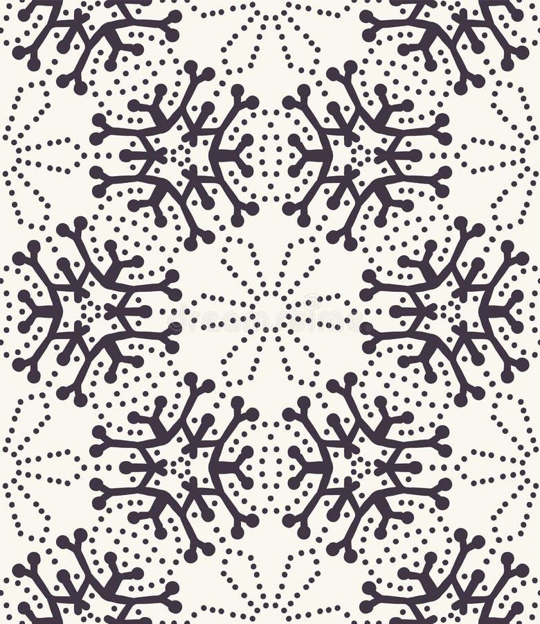 Modèle abstrait tiré par la main de flocons de neige d'hiver Étoiles en cristal élégantes Fond blanc noir Vacances simples élégan illustration stock