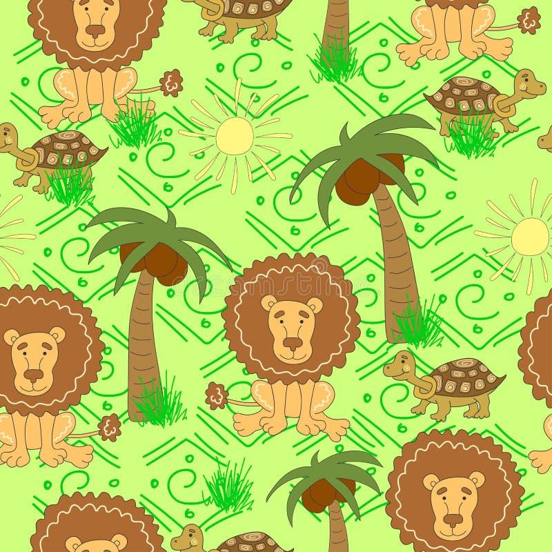 Modèle africain d'animaux Modèle sans couture avec la tortue, lion, palmier, le soleil, herbe sur un fond vert illustration stock