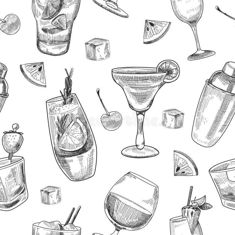 Modèle alcoolique de cocktails illustration stock