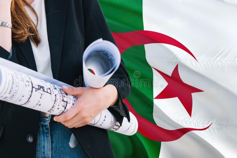 Modèle algérien de participation de femme d'architecte sur le fond de ondulation de drapeau de l'Algérie Concept de construction  photographie stock libre de droits