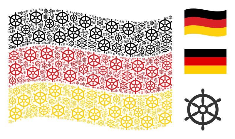 Modèle allemand de ondulation de drapeau des icônes de volant de bateau illustration libre de droits