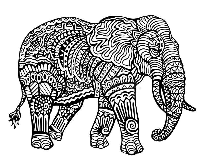 Modèle animal ethnique de détail de griffonnage - éléphant Zentangle Illustratio illustration stock