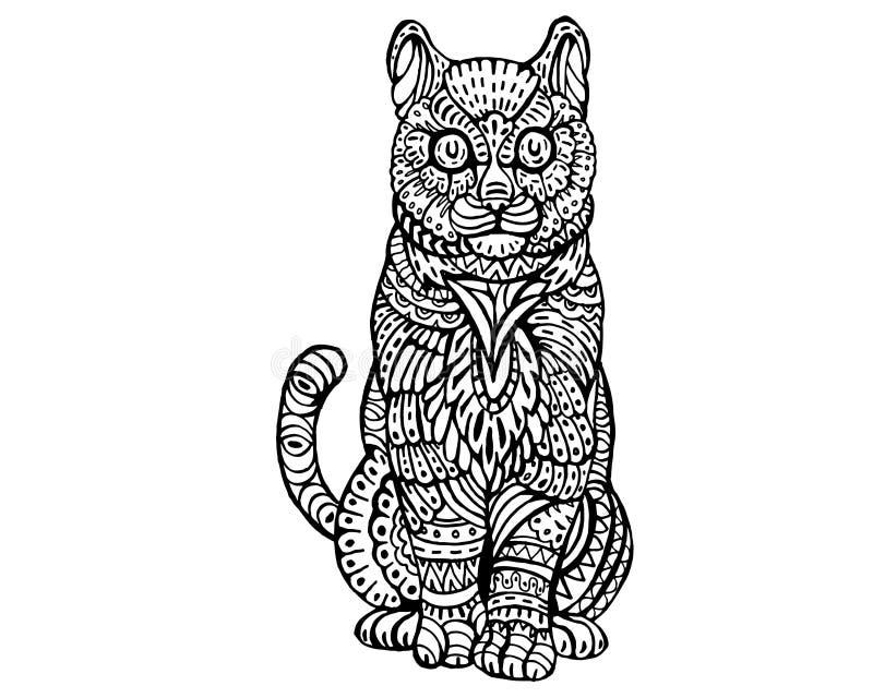 Modèle animal ethnique de détail de griffonnage - Cat Zentangle Illustratio mignonne illustration de vecteur