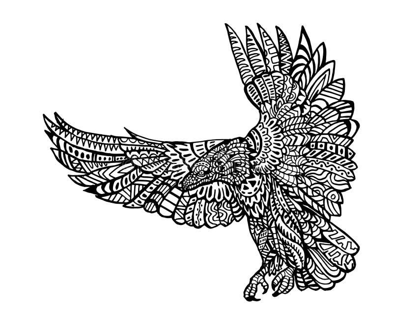 Modèle animal ethnique de détail de griffonnage - Eagle Zentangle Illustration illustration stock
