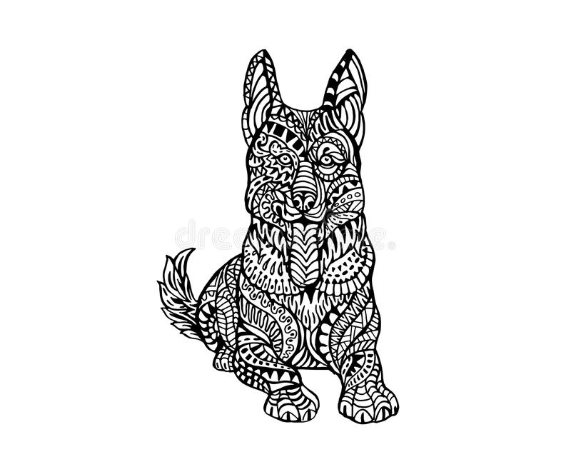 Modèle animal ethnique de détail de griffonnage - illustration de Zentangle de chien de Sheppard d'Allemand illustration libre de droits