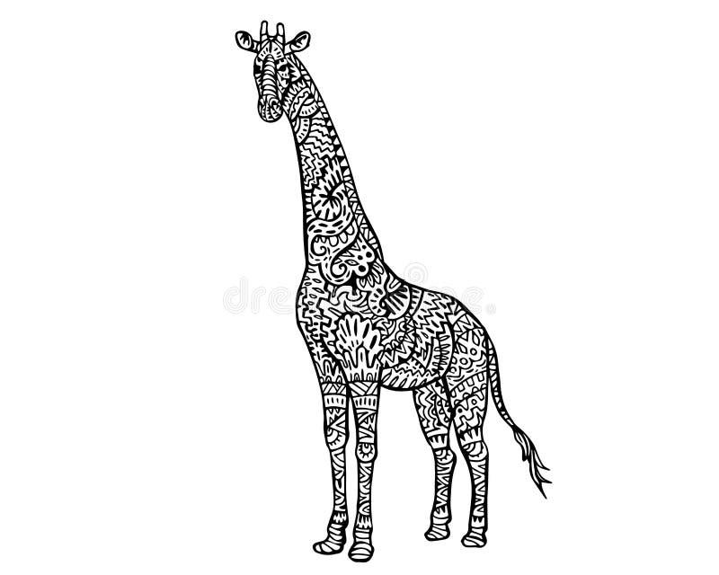 Modèle animal ethnique de détail de griffonnage - illustration de Zentangle de girafe illustration stock
