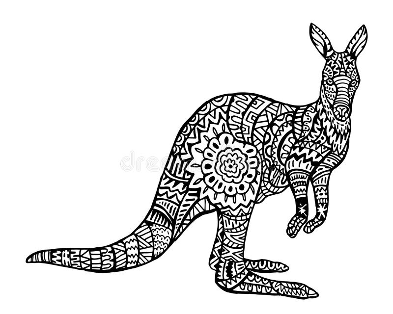 Modèle animal ethnique de détail de griffonnage - kangourou Zentangle Illustratio illustration stock