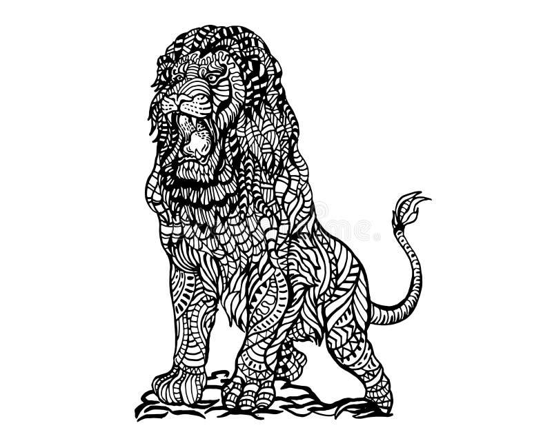 Modèle animal ethnique de détail de griffonnage - Lion Zentangle Illustration fâché illustration de vecteur