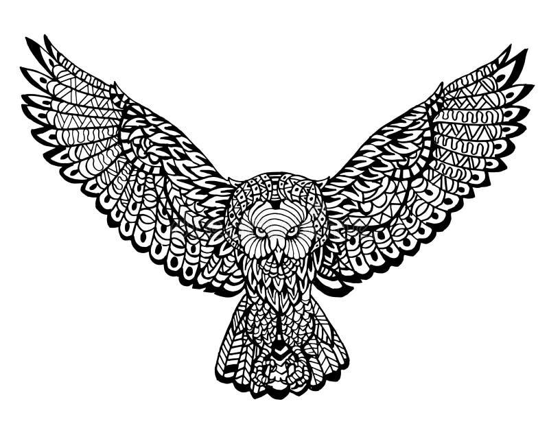 Modèle animal ethnique de détail de griffonnage - Owl Lion Zentangle Illustration illustration stock