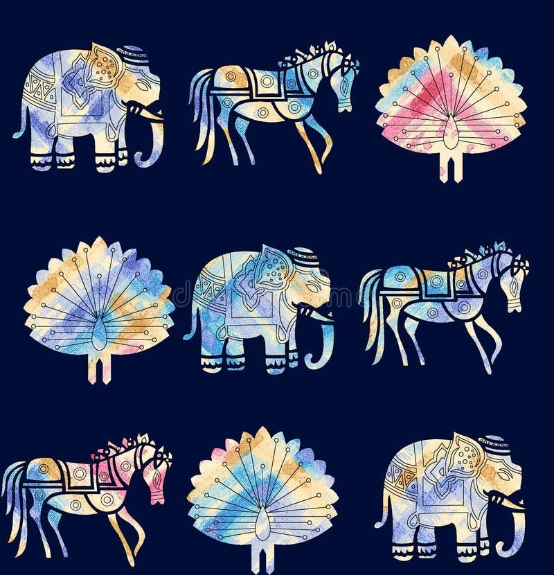 Modèle animal sans couture de motif avec la couleur de marine illustration de vecteur