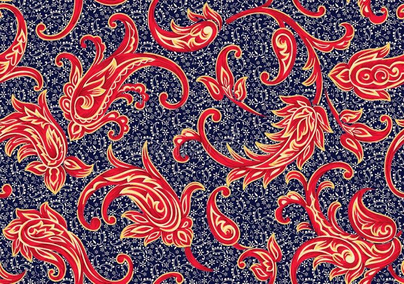 Modèle antique sans couture de Paisley avec le fond de marine illustration de vecteur