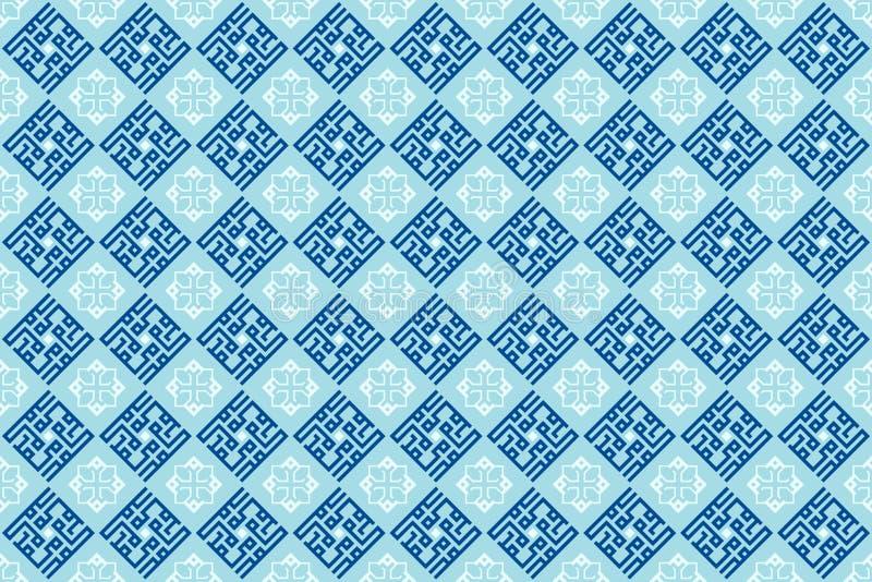 Modèle Arabe oriental ornemental géométrique de tuile en papier peint bleu mou de fond de couleur illustration libre de droits