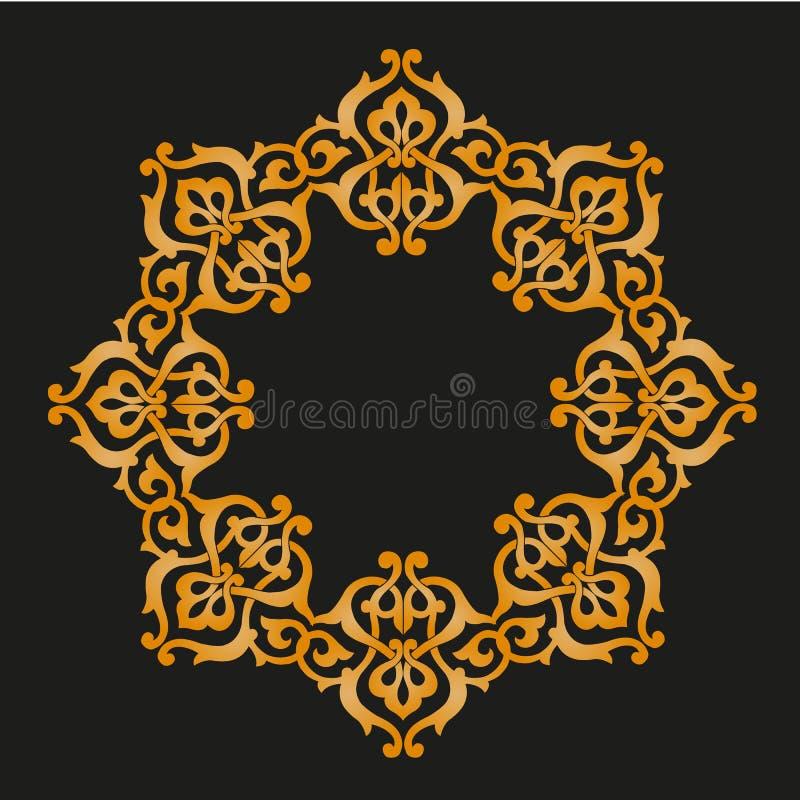 Modèle arabesque doré sur fond noir illustration stock