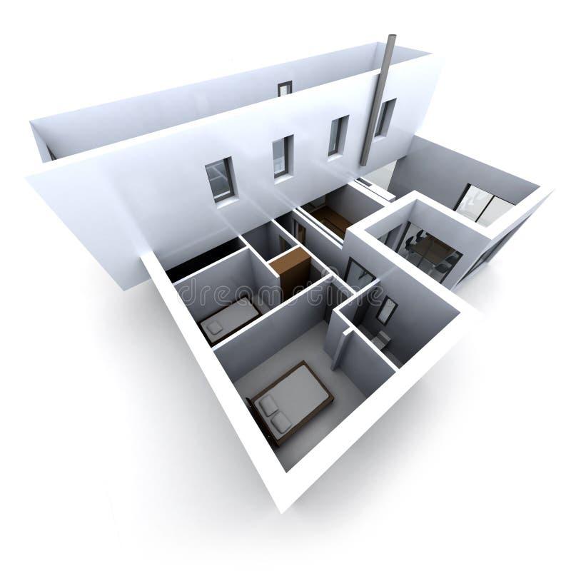 Modèle architectural blanc illustration libre de droits