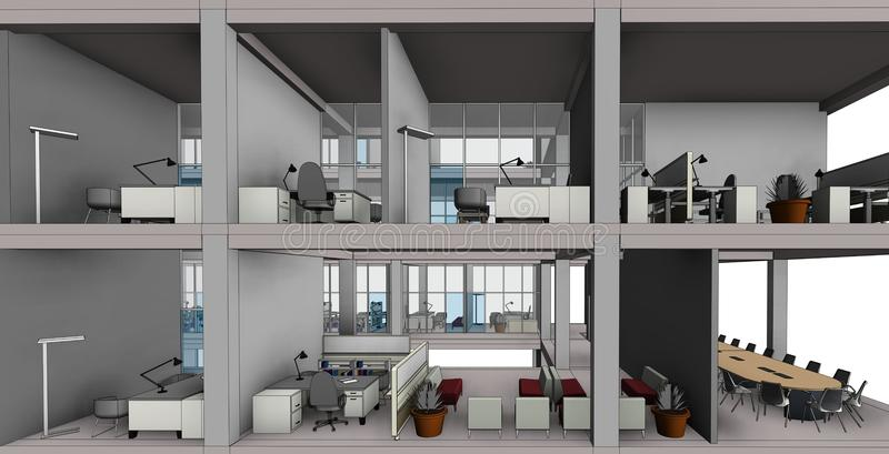 Modèle architectural de bâtiment de dessin de croquis illustration stock