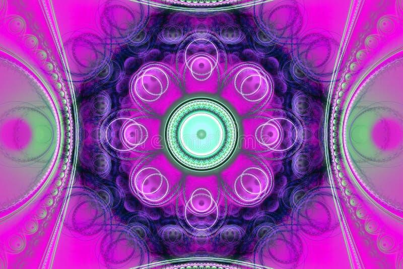 Modèle artsy d'insecte de couverture de fond de fractale de modèle d'art géométrique fraktal pourpre rose de papier peint illustration libre de droits