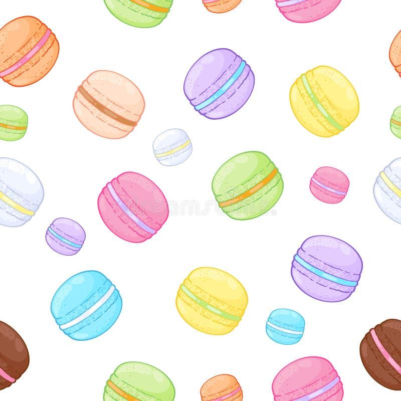Modèle assorti sans couture de macarons illustration stock