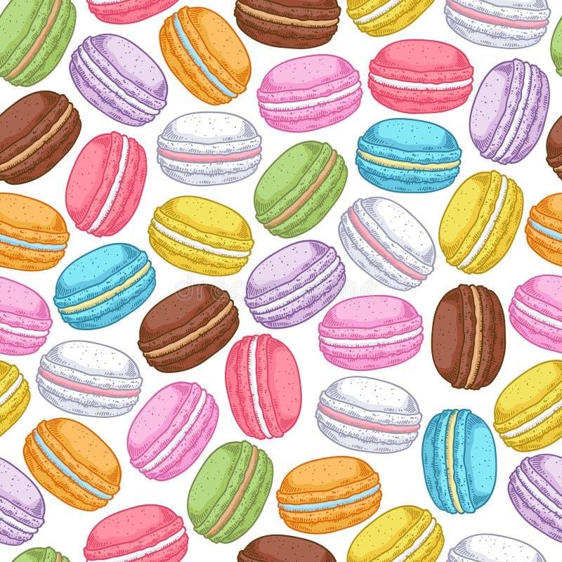 Modèle assorti sans couture de macarons illustration de vecteur