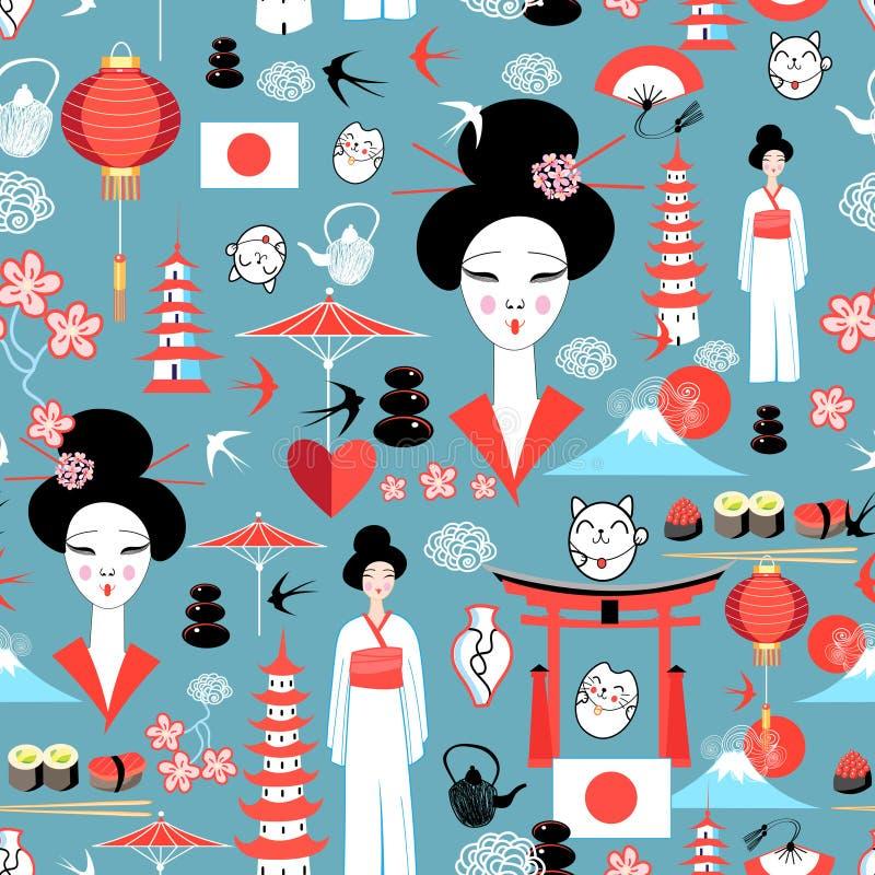 Modèle avec de divers éléments de Japonais illustration de vecteur