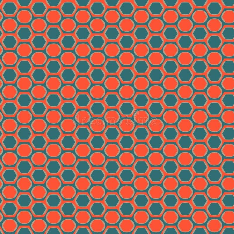 Modèle avec des bandes des cercles dans les hexagones illustration de vecteur