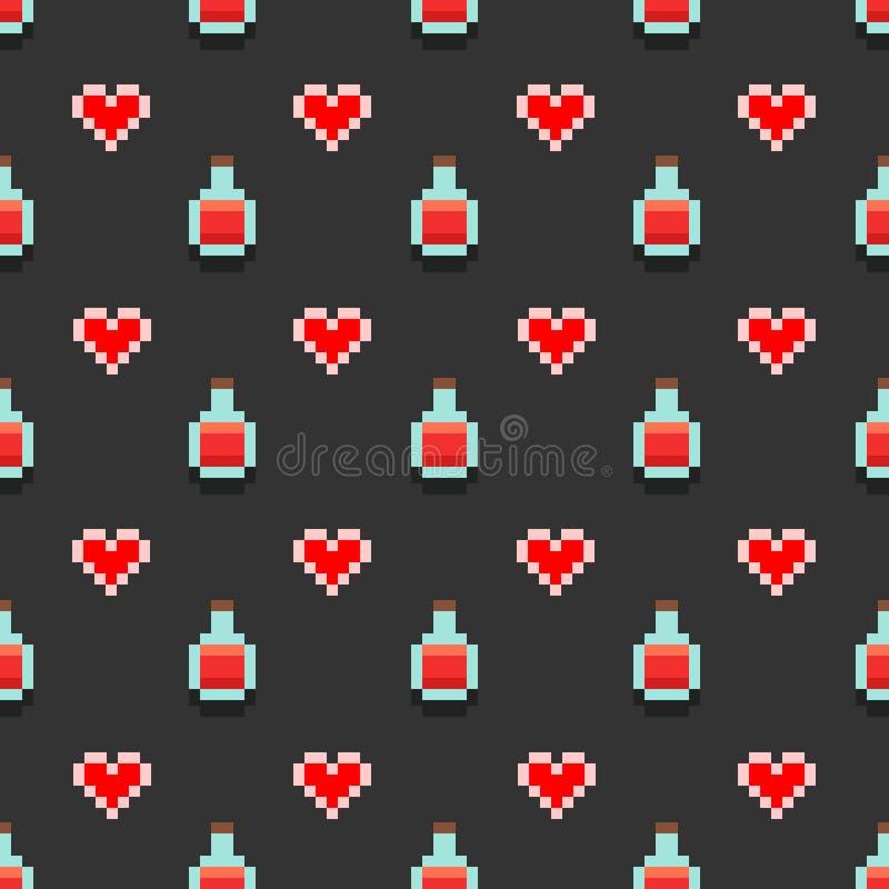 Modèle avec des breuvages magiques de pixel et des coeurs rouges illustration de vecteur