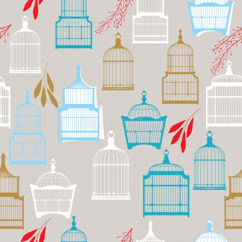 Modèle avec des cages à oiseaux de vintag illustration de vecteur