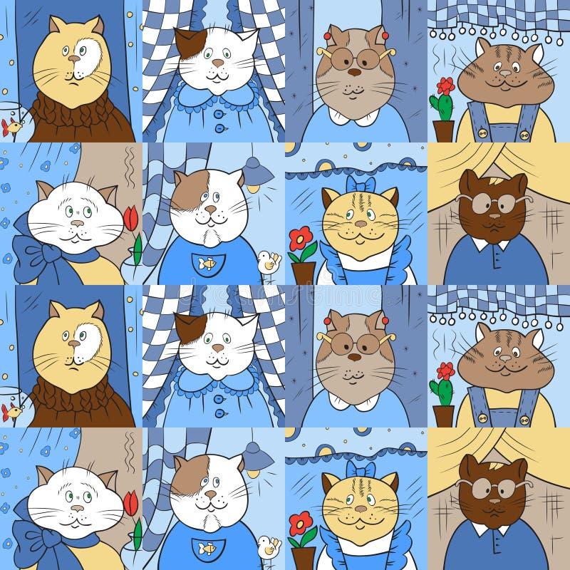 Modèle avec des chats dans les fenêtres photo libre de droits