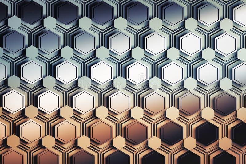 Modèle avec des couches d'hexagones coloré dans le gradient orange bleu illustration de vecteur