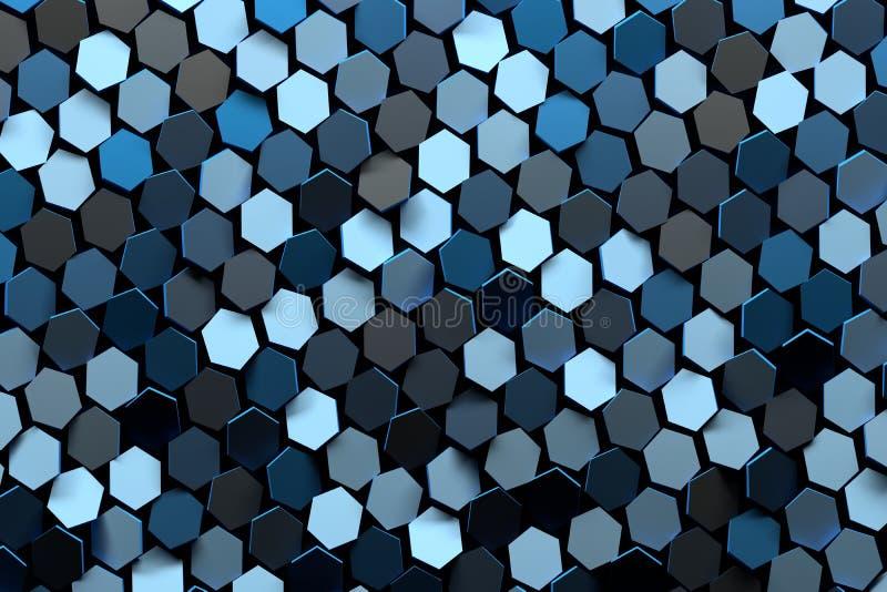 Modèle avec des hexagones bleus illustration stock