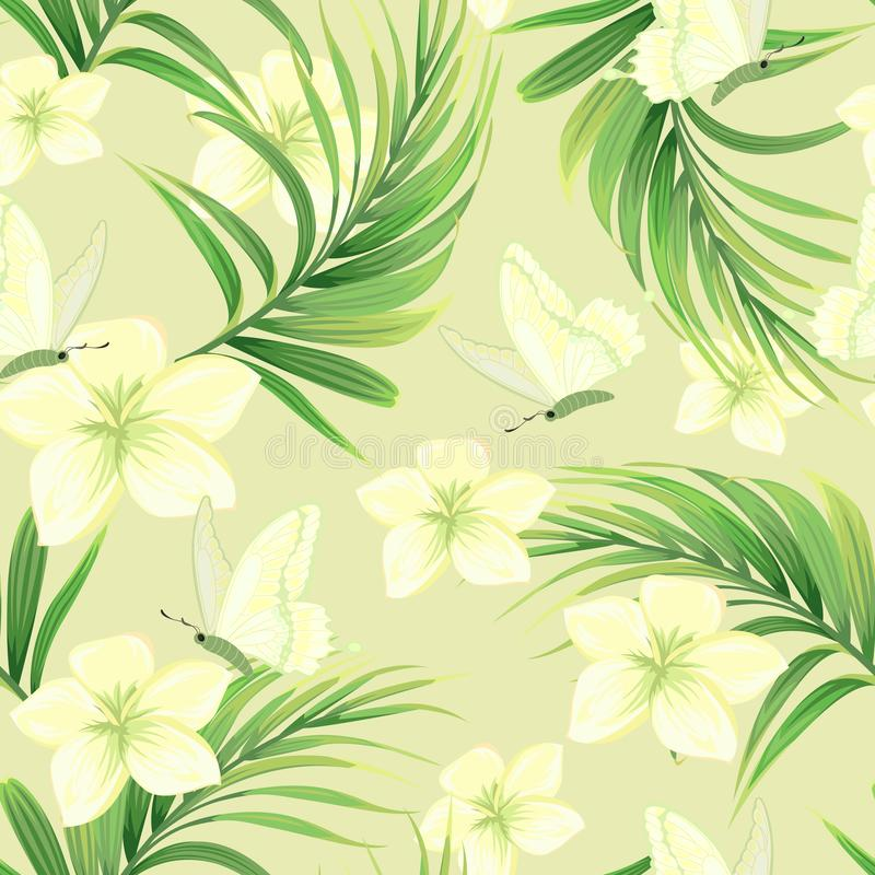 Modèle avec des palmettes et des fleurs exotiques illustration stock
