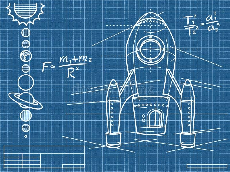 Modèle avec le vaisseau spatial et les planètes illustration de vecteur
