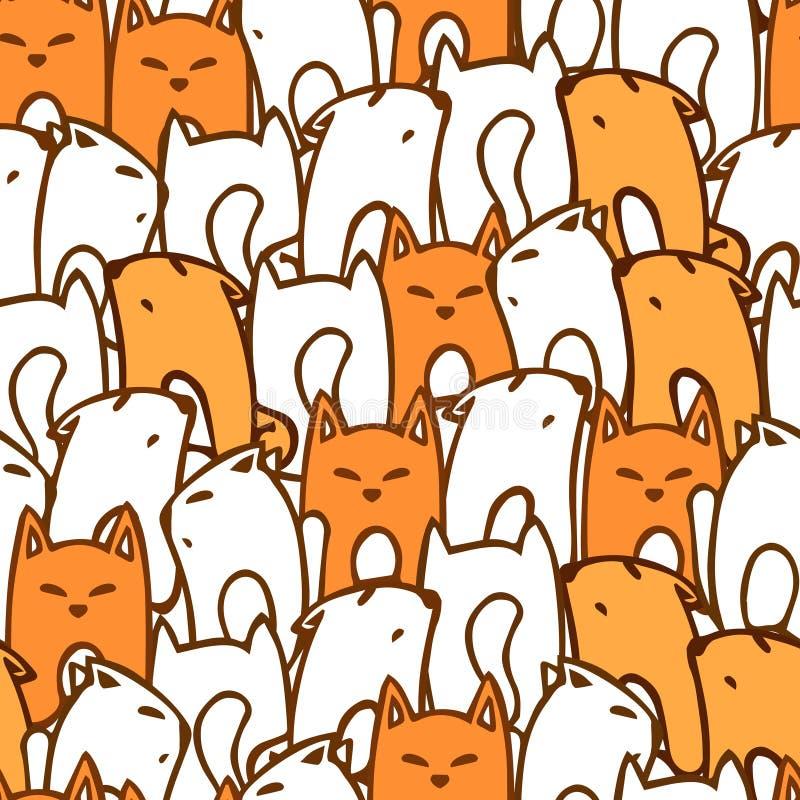 Modèle avec des renards de bande dessinée illustration stock