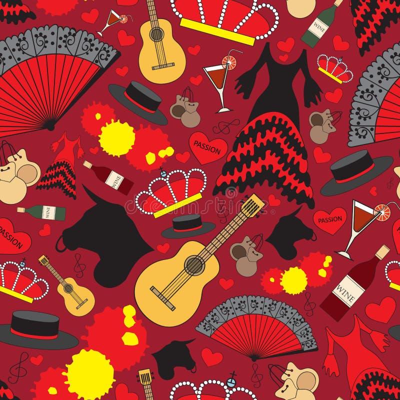 Modèle avec des symboles de l'Espagne pour l'usage dans la conception illustration stock