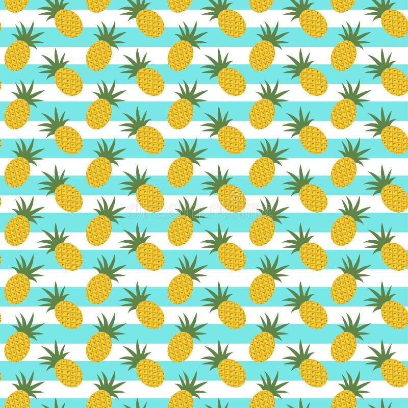 Modèle avec l'ananas et les rayures illustration stock