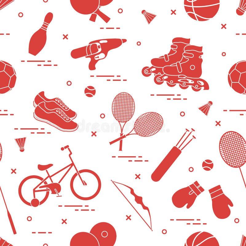 Modèle avec la bicyclette, les rouleaux, les gants de boxe, le pistolet d'eau et les marchandises pour rouler, ping-pong, tennis, illustration de vecteur