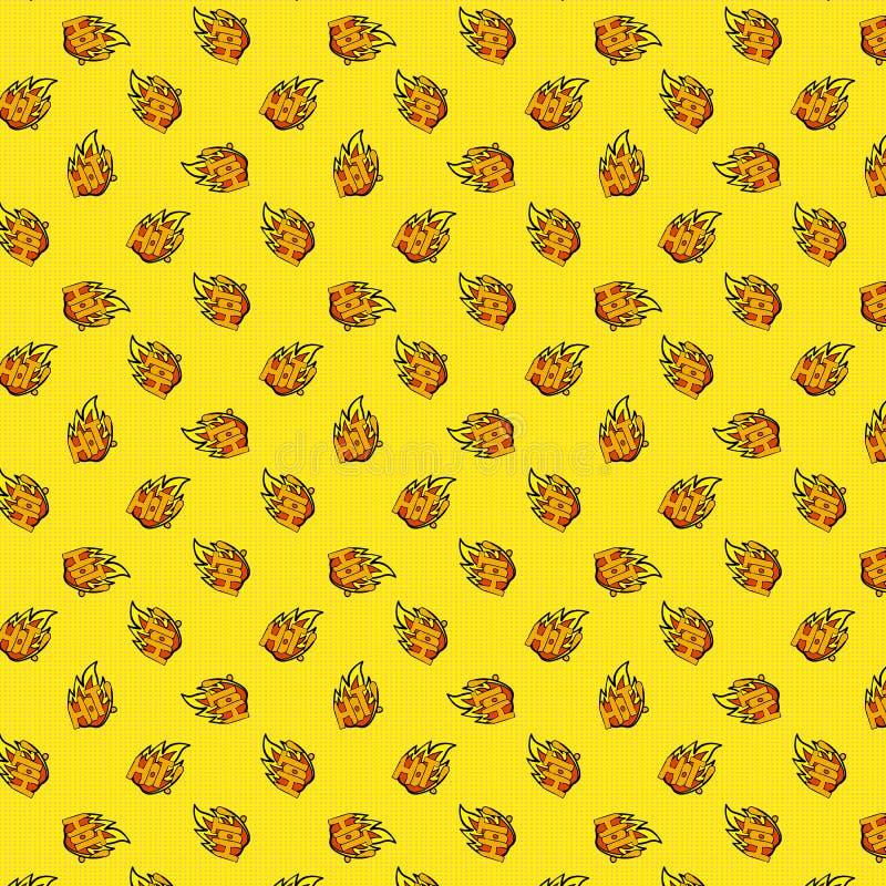 Modèle avec la flamme et chaud sans couture sur un fond jaune de point de polka style d'art de bruit illustration de vecteur